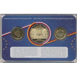 Coffret Amitié Franco-Allemande - 1F 1960/1  Mark 1990 + médaille 50 ans traité de l'élysée