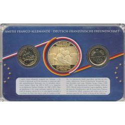 Coffret Amitié Franco-Allemande - 1F 1999/1  Mark 1975 + médaille Chirac/Schroder