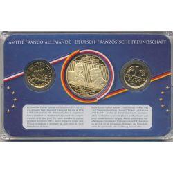 Coffret Amitié Franco-Allemande - 1F 1999/1  Mark 1980 + médaille Giscard d'Estaing / Schmidt
