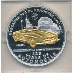 Palau - 5 Dollars 2012 - 125 ans automobile - Mercedes 300 SL Roadster