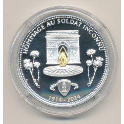 Médaille - Hommage au soldat inconnu - 100e anniversaire de la grande guerre - argent