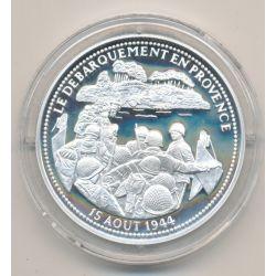 Médaille - Débarquement en provence - 15 aout 1944 - La France Victorieuse - argent