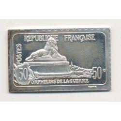 Timbre en argent - 50 Cts + 50 Cts - Orphelins de guerre - 1917 - Lion de Belfort - 1982