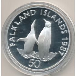 Iles falklands - 50 Pence 1987 - manchots