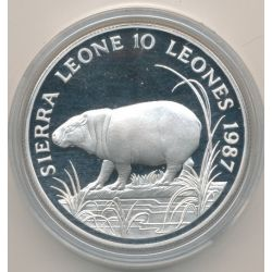 Sierra leone - 10 Leones 1987 - hippopotame