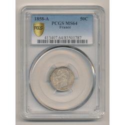 PCGS MS64 83501787 - 50 centimes Napoléon III - 1858 A Paris - Tête nue