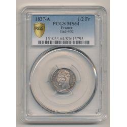 PCGS MS64 83615795 - 1/2 Franc Charles X - 1827 A Paris