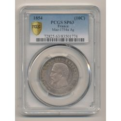 Module 10 Centimes 1854 Napoléon III - Monument érigé à la Bourse - PCGS SP63 83501774