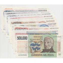 Argentine - Série de 12 Billets