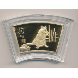 Médaille signe astrologique chinois - Chien - cuivre doré or fin