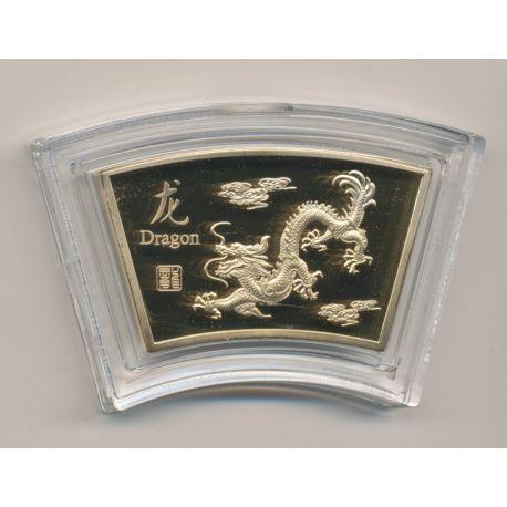Médaille signe astrologique chinois - Dragon - cuivre doré or fin