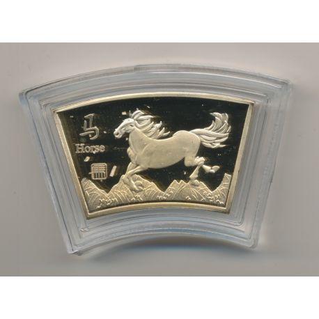 Médaille signe astrologique chinois - Cheval - cuivre doré or fin