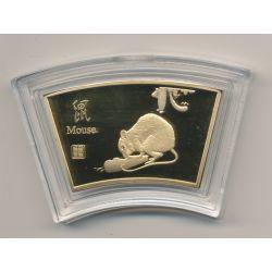 Médaille signe astrologique chinois - Souris - cuivre doré or fin