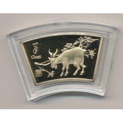 Médaille signe astrologique chinois - Chèvre - cuivre doré or fin