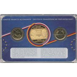 Coffret Amitié Franco-Allemande - 1F 1978/1  Mark 1974 + médaille 50 ans traité de l'élysée