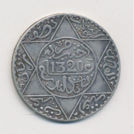Maroc - 5 Dirhams - 1902 - Londres - Abdul aziz I - argent