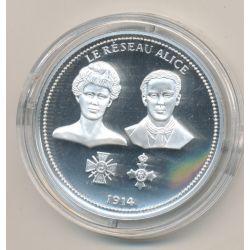 Médaille - Le réseau Alice - 1914 - 100e anniversaire de la grande guerre - argent