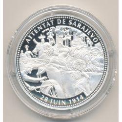 Médaille - Attentat de Sarajevo - 28 juin 1914 - 100e anniversaire de la grande guerre - argent