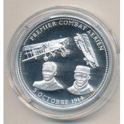 Médaille - Premier combat aérien - 5 octobre 1914 - 100e anniversaire de la grande guerre - argent