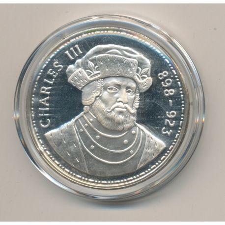 Médaille - Charles III - Les Rois de France - argent belle épreuve