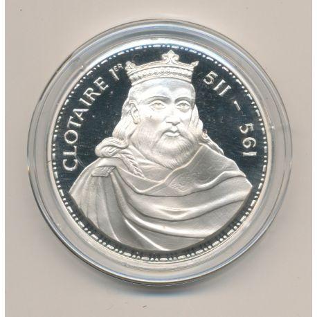 Médaille - Clotaire 1er - Les Rois de France - argent belle épreuve