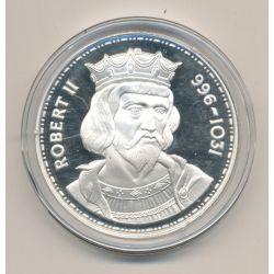 Médaille - Robert II - Les Rois de France - argent belle épreuve