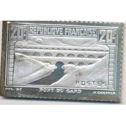 Timbre en argent - 20 Francs - Pont du gard - 1931/1983