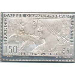 Timbre en argent - 1F50 + 8F50 - Le travail - 1928/1983