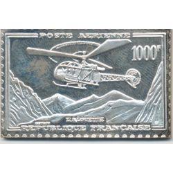 Timbre en argent - 1000 Francs Hélicoptère Alouette - 1957/1983