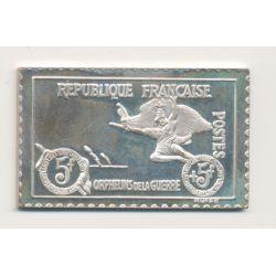Timbre en argent - 5 F + 5F - Orphelins de guerre - la marseillaise - 1917/1982