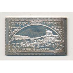 Timbre en argent - 35 Cts + 25 Cts - Orphelins de guerre - honneur et patrie - 1917/1982