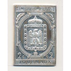 Timbre en argent - 2 Centimes - Timbre impérial pour journaux - 1868/1981