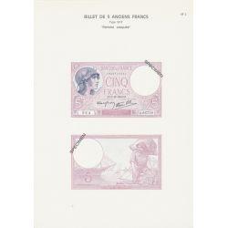 Planche - Billet 5 Francs Violet - Type 1917 - AF2