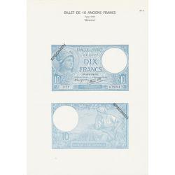 Planche - Billet 10 Francs Minerve Bleu - Type 1915 - AF4