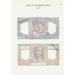 Planche - Billet 1000 Francs Minerve et Hercule - Type 1945 - AF15