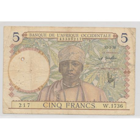 Afrique occidentale - 5 Francs - 1942 - TB