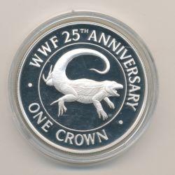 Iles Turques et caiques - 1 Crown 1988 - Iguane - argent