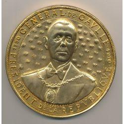 Médaille - Général De Gaulle - Président de la république - De Jaeger 110mm - bronze doré à l'or pur