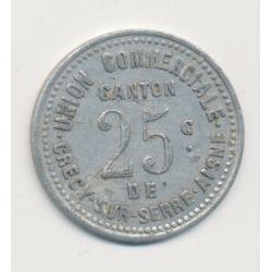 Crécy sur serre - 25 centimes - Union commerciale - alu
