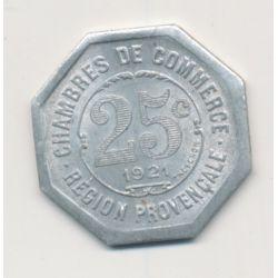 Région provencale - 25 centimes 1921 - chambre de commerce - alu