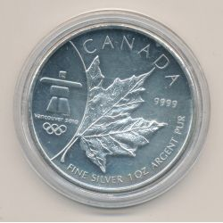 Canada - 5 Dollars 2008 - JO Vancouver 2010 - 1 once argent