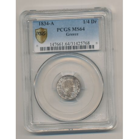 Grèce - 1/4 Drachmai -1834 A - PCGS MS64