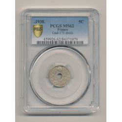 LIndauer - 5 centimes - 1938 étoile - PCGS MS62