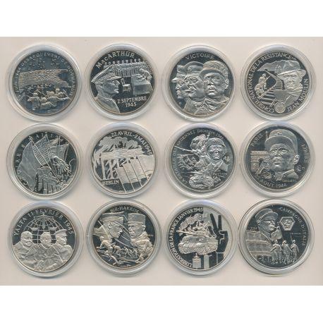 Collection complète - 12 Médailles - Collection du Débarquement - 1939/1945