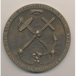Médaille maçonnique - Grand orient Lusitanien - Portugal - bronze
