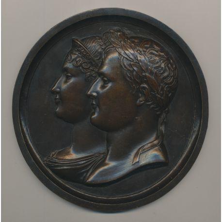 Médaille - Napoléon 1er et Joséphine - refrappe bronze - 135mm