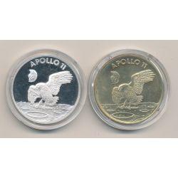 Lot 2 Médailles - Apollo 11 - bronze et argent