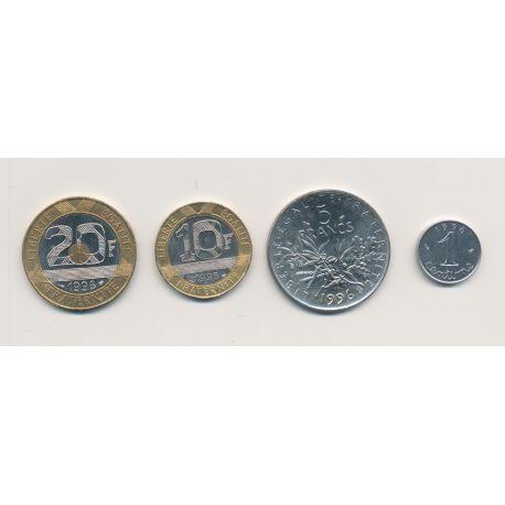 Série 4 Monnaies 1996 - 1 centime,5 Francs, 10 Francs, 20 Francs