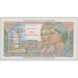 Billet - 10NF sur 500 Francs - Reunion