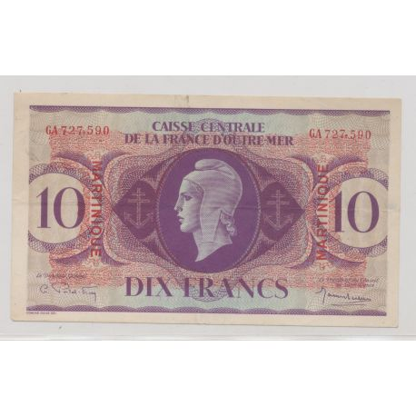 Billet - 10 Francs Martinique - Caisse centrale de la France d'outremer